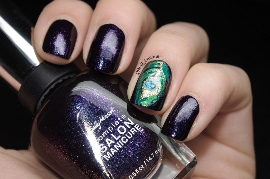 Peacock nail art (3)