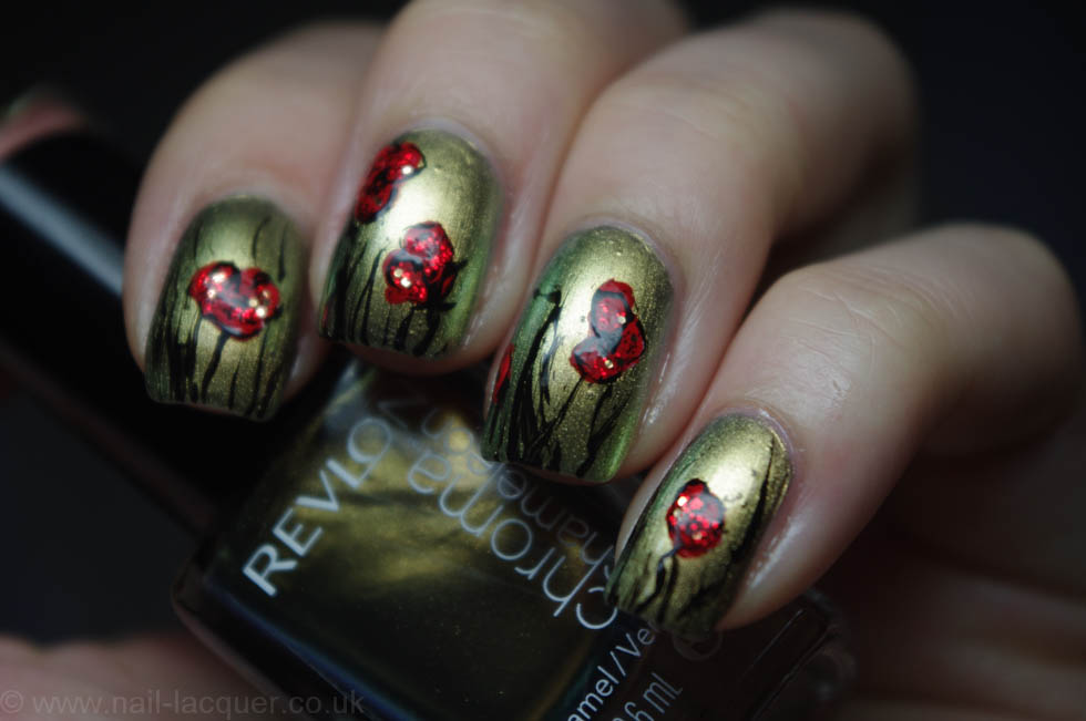 remembrance poppy nail art (1)